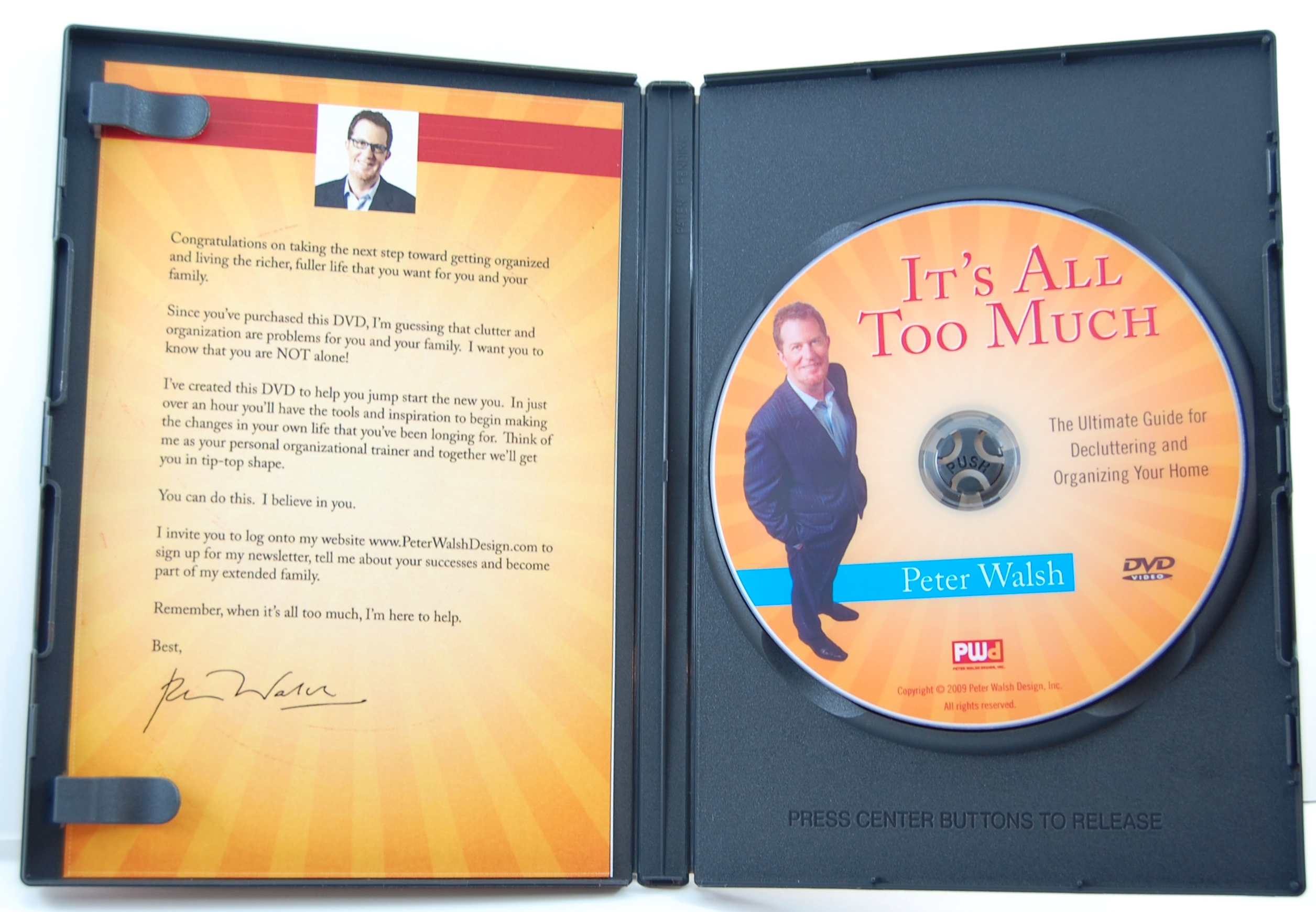 inside DVD case with optional printed insert card.