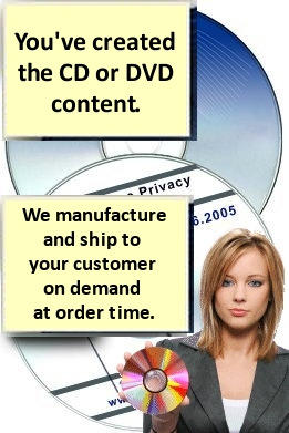 We produce, package, and ship your DVD, or CD, and send to your individual customers. Low price for any quantity.  Automated project configuration keeps costs low.